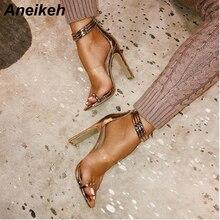 Aneikeh 2019 Summer Fashion Women Sandalias Mujer Ankle Buckle Strap Sexy High Heels Sanda