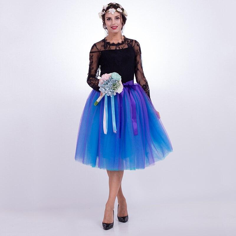 7 schichten Midi Tüll Röcke Frauen Mode Plissee TUTU Rock Elegante Hochzeit Vintage Lolita Petticoat faldas mujer saias Jupe