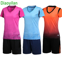 2017 women Gym table tennis shirts +shorts sets short sleeve soccer jersey lady soccer suits girls football uniforms sportswear