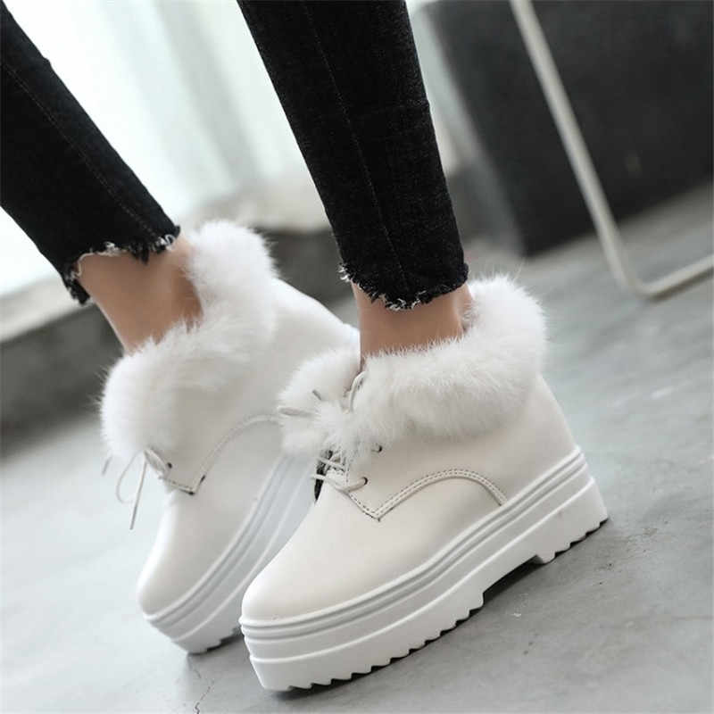 COOTELILI Kış platform ayakkabılar Kadın Rahat Yumuşak Deri Kadife Peluş yarım çizmeler Kadınlar Için Tavşan Kürk Sıcak Kar Botları