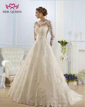 Beading Lace Appliques Organza Wedding Dresses Sheer Neck Illusion Muslim A line Wedding Dress Long sleeve Sashes with Bow w0009