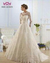 אגלי תחרה אפליקציות אורגנזה חתונת שמלות Sheer צוואר אשליה מוסלמי קו חתונת שמלה ארוך שרוול Sashes עם קשת w0009