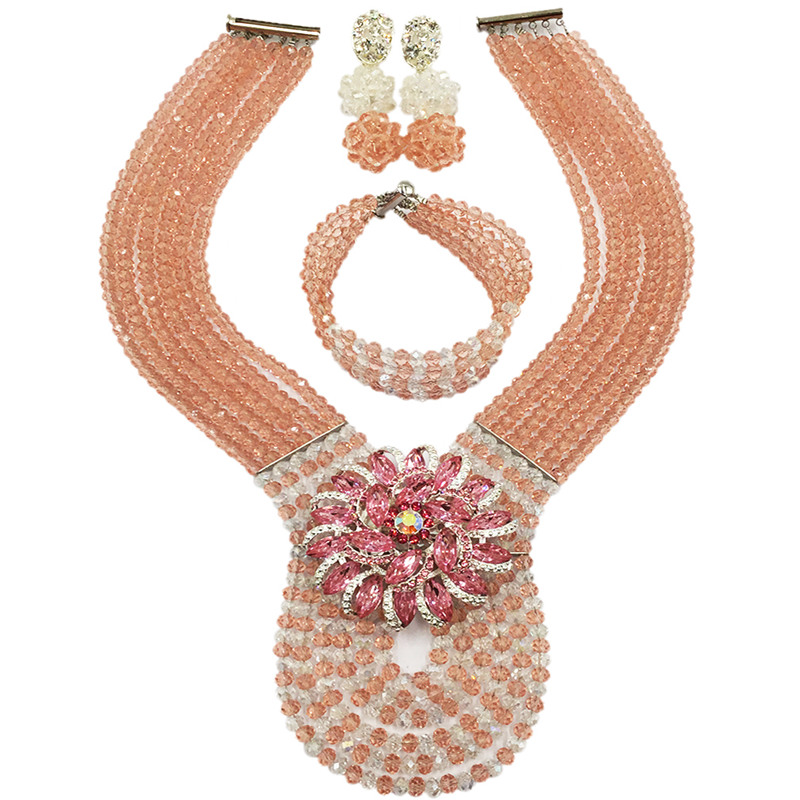 Earrings Jewelry-Set Wedding-Necklace African-Beads Nigerian Bracelet Crystal And Peach