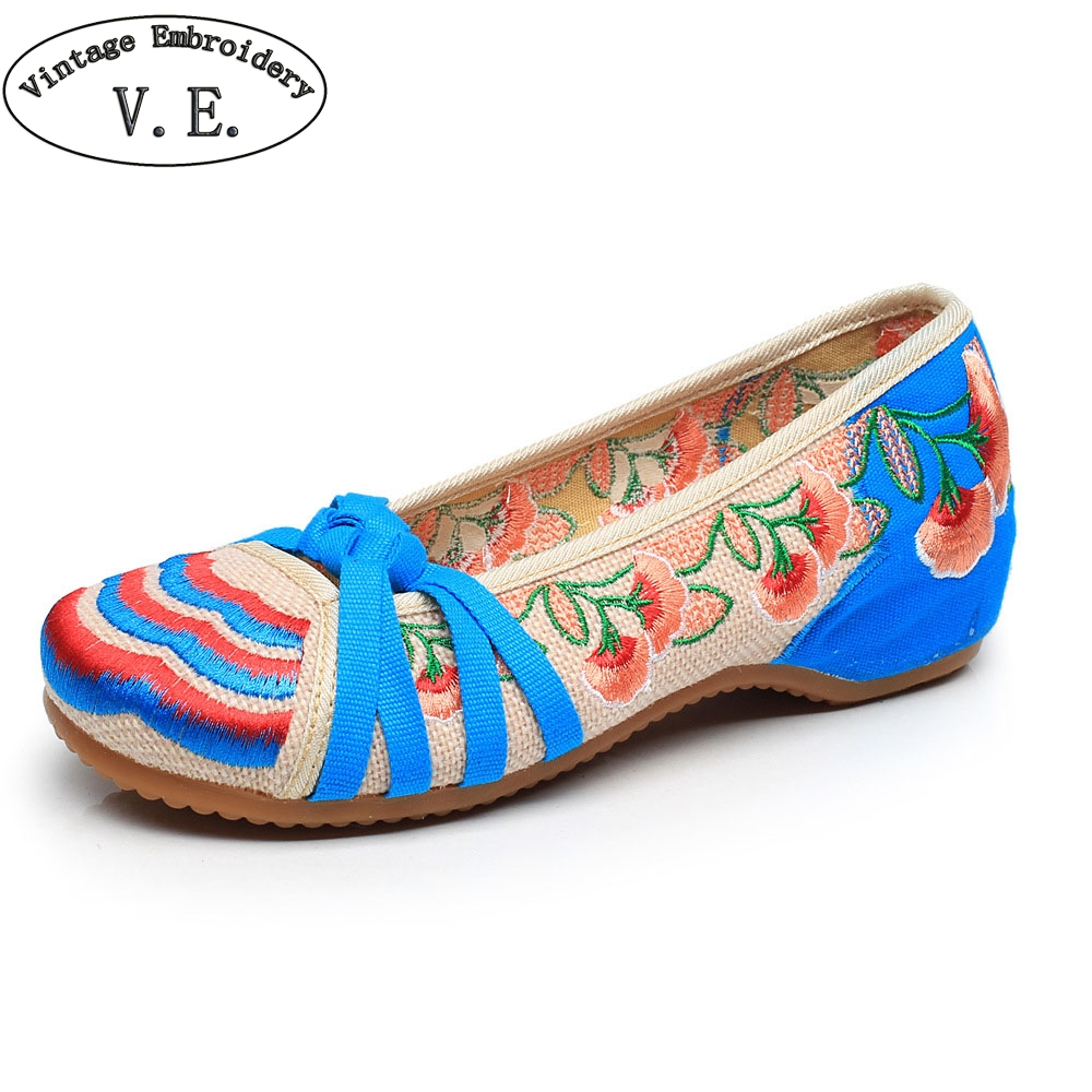Vintage Embroidery Chinese National Women's Shoes Floral Embroidered Soft Canvas Shoes For Lady Spring Autumn Flats Shoes Women vintage women shoes 2017 spring new canvas embroidered women s canvas cloth shoes tendon bottom size 34 41