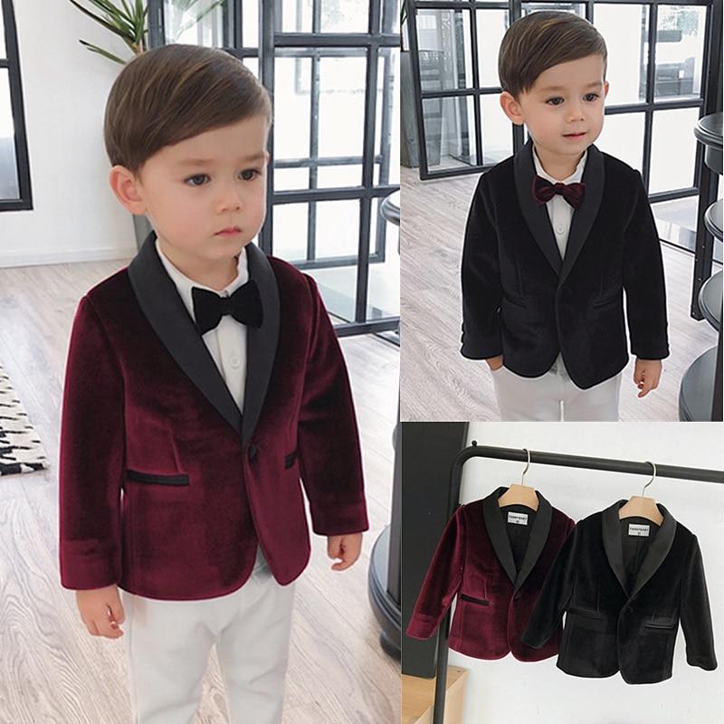 children suit baby boy velvet suits children's costume wedding dress baby boys formal dress tailor-made kids casual blazer suit