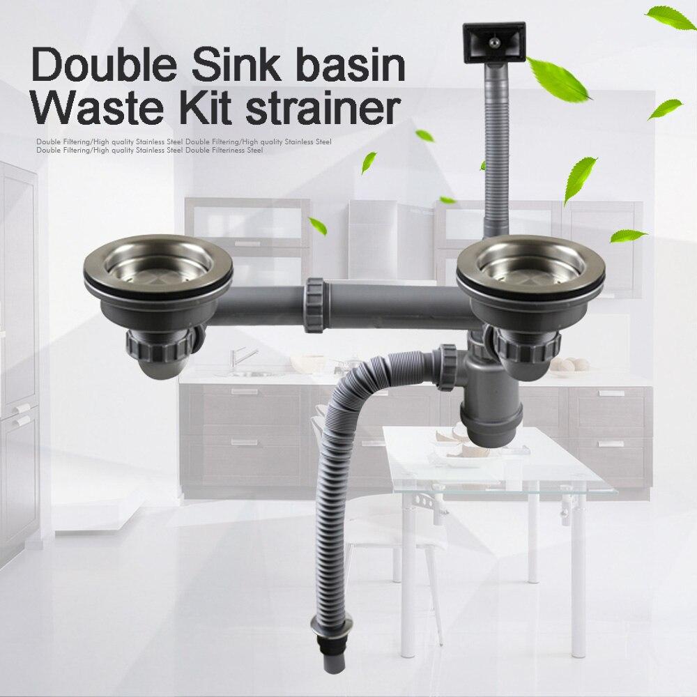 Talea doble lavabo cuenca residuos Kit de filtro con manguera de sistema de drenaje cesta de drenaje de tubos de desagüe de la cocina Accesorios