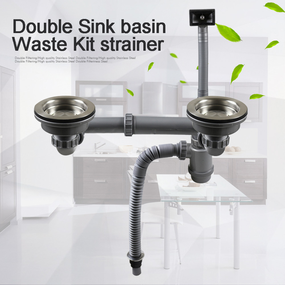 Talea Double Sink basin Waste Kit strainer with hose Drainage System Basket Drain Set Drain Pipes Kitchen Fixtures