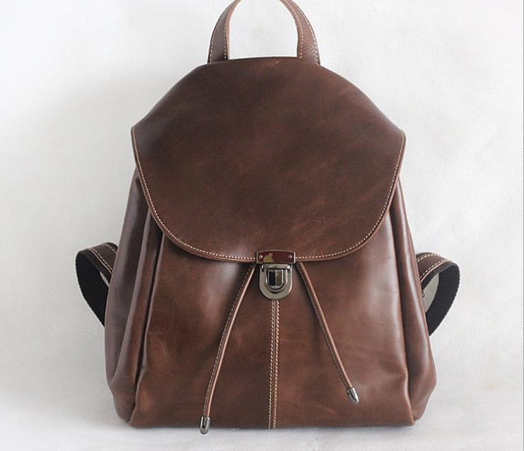 Fashion Solid Genuine Leather Women Backpack School Bag For Teenage Girls Shopping Travel Rucksack Famous Brand Design Backpack famous brand laifu design women lightweight nylon bag teenage girls school backpack preppy style shopping travel black coffee page 9 page 7 page 1