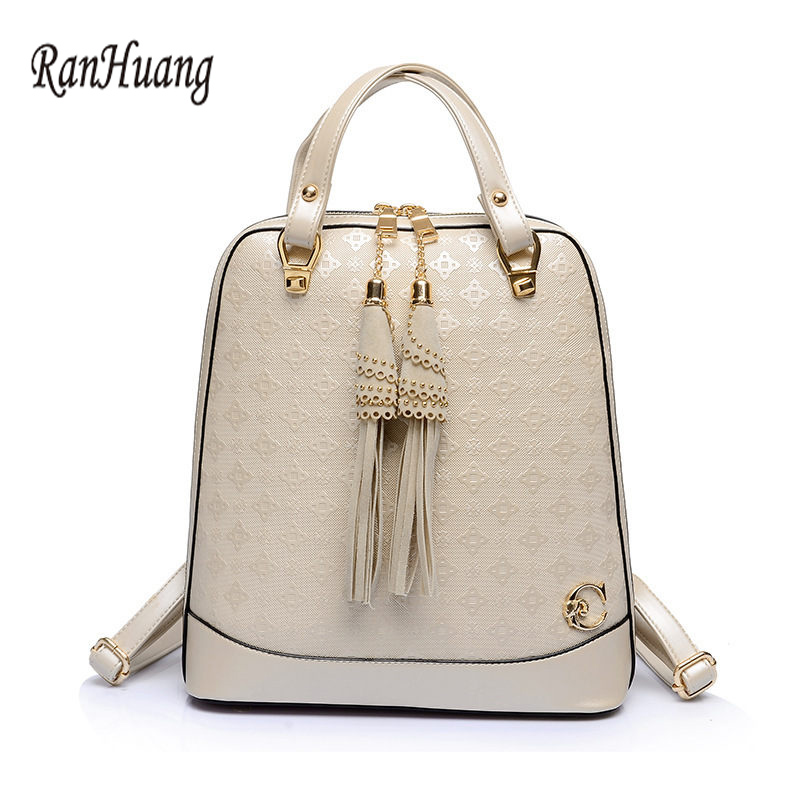 ФОТО RanHuang 2017 Women Fashion Tassel Backpack High Quality PU Leather Designer Backpacks School Bags For Teenagers Girls