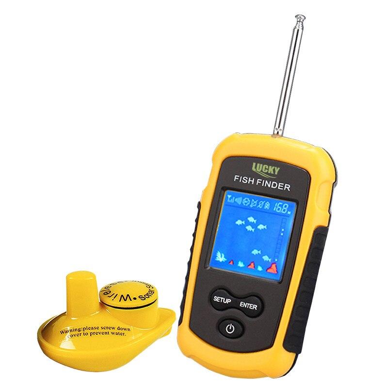 Lucky FFCW1108-1 Portable <font><b>Fish</b></font> Finder Echo Sounder 120m Wireless <font><b>Fish</b></font> Finder Alarm 40M/130FT Sonar Depth Ocean River fishfinder