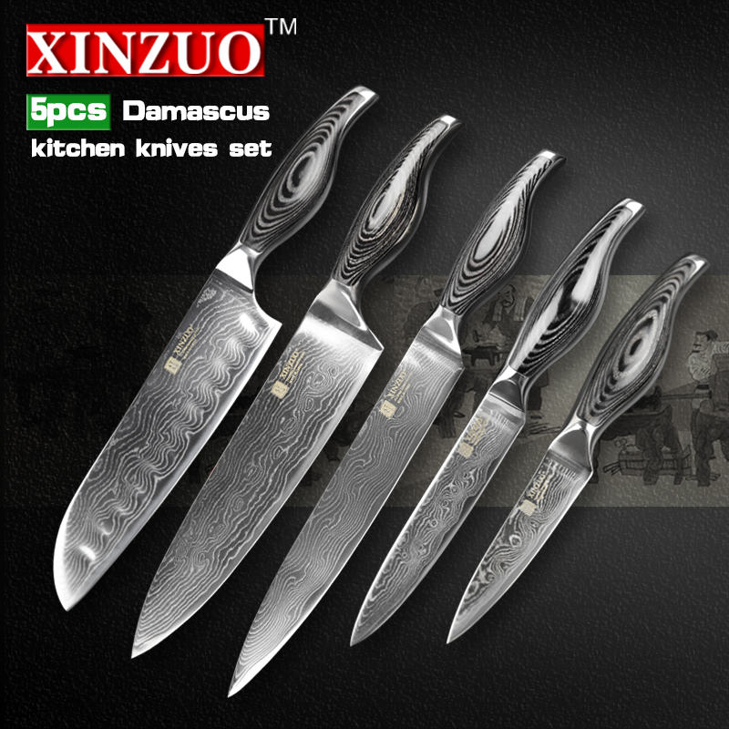 5 pcs chef font b knives b font set 73 layers Japanese VG10 Damascus steel kitchen