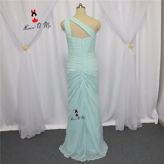 Plus Size Mint Green Bridesmaid Dresses one Shoulder Pleat Chiffon ...