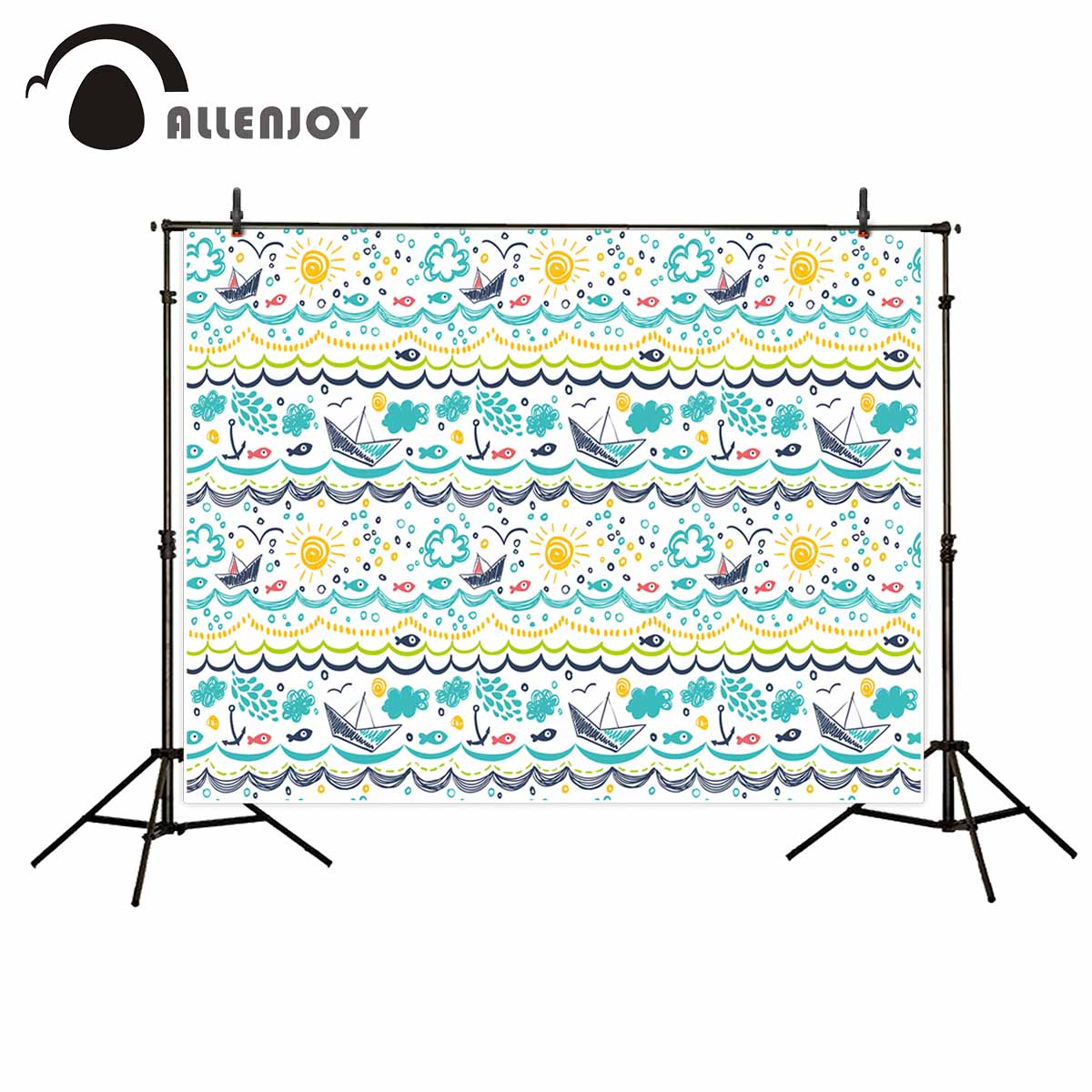 Allenjoy photography backdrops Cute children's background kid's drawing boat sun cloud sea theme photo backdrop background vinyl shengyongbao 300cm 200cm vinyl custom photography backdrops brick wall theme photo studio props photography background brw 12