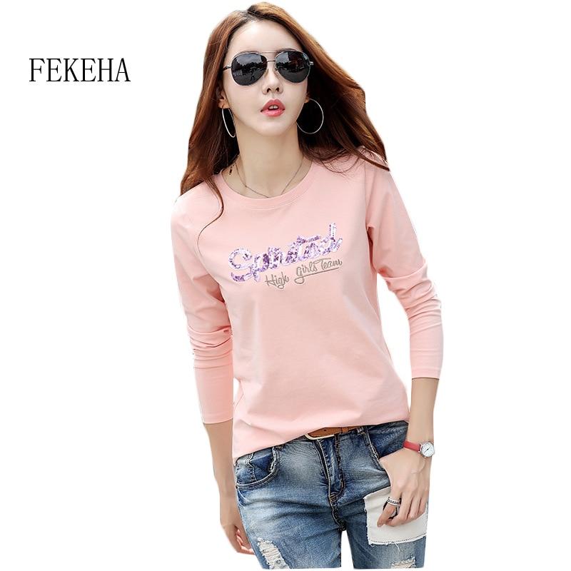 Fekeha 2018 White T Shirts Women Cotton Tee Shirt Femme Long Sleeve Black Camisetas -8426