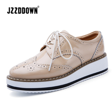 Jzzddown couro genuíno sapatos de luxo mulher plataforma rendas até oxford sapatos femininos mocassins porco camurça senhoras sapatos com saltos 4.5 cm