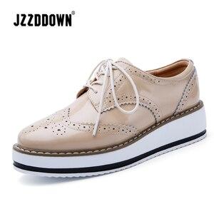 Image 1 - Jzzddown couro genuíno sapatos de luxo mulher plataforma rendas até oxford sapatos femininos mocassins porco camurça senhoras sapatos com saltos 4.5 cm