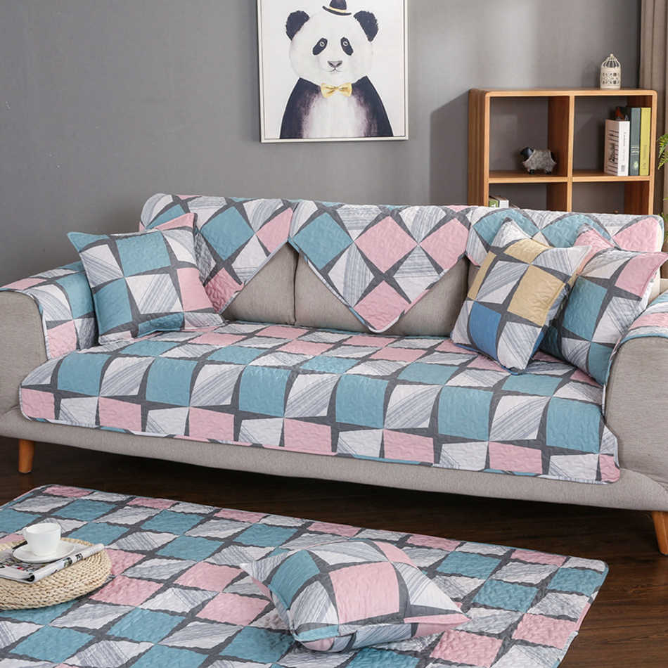 Pleasant 1Pc Plaid Sofa Cover 100 Cotton Pink And Blue Couch Pdpeps Interior Chair Design Pdpepsorg