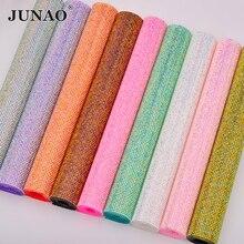 JUNAO SS6 Hotfix Colorful AB Rhinestone Mesh Fabric Diamond Strass Ribbon Resin Applique For DIY Decoration