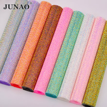 Junao SS6 Hotfix Colorful AB Rhinestone Mesh Kain Diamond Berlian Imitasi Pita Resin Bordiran untuk Dekorasi DIY(China)