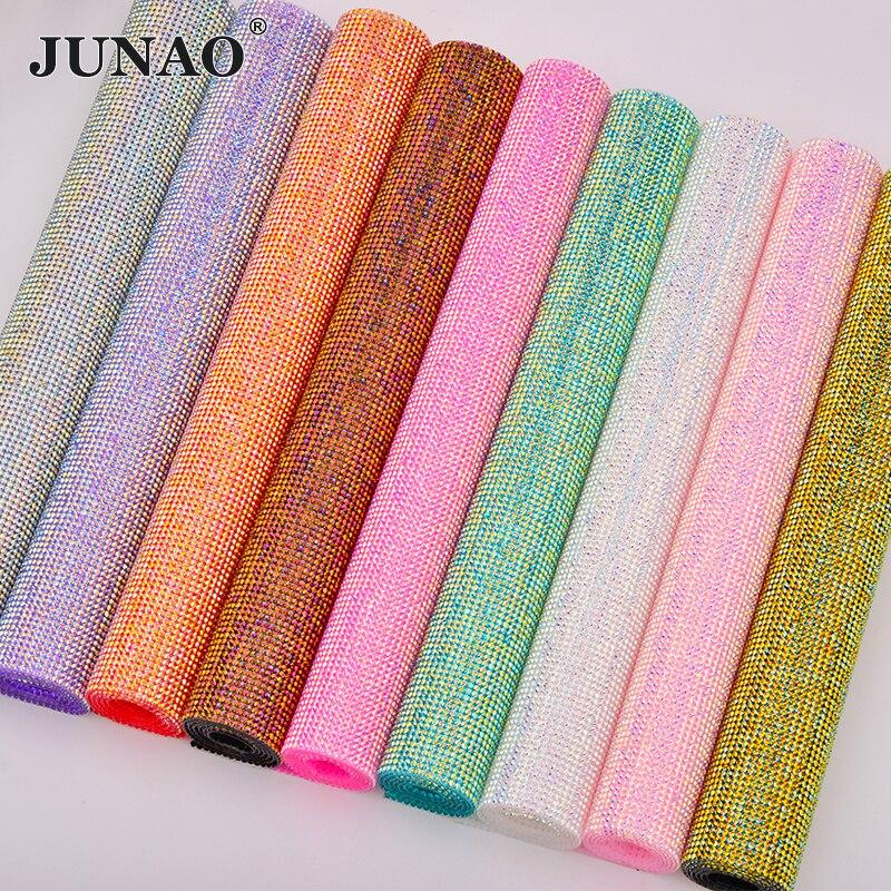 JUNAO SS6 Hotfix Colorful AB Rhinestone Trim Crystal Fabric Sheet Diamond Mesh Strass Ribbon Resin Applique For DIY Decoration