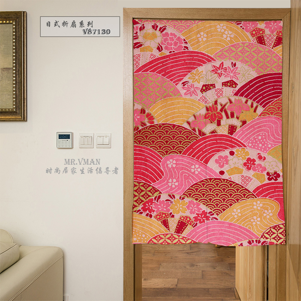 NiceRug Store Nice Curtains Japan Style Folding Fans Pattern Door Curtain Digital Printing Polyesster Mouldproof Home Decorative Partition 85x