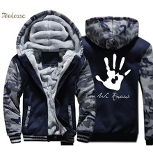 Dark Brotherhood We Know Hand Hoodie Men Hip Hop Hooded Sweatshirt Coat Thick Fleece Warm Camouflage Jacket Hipster Streetwear