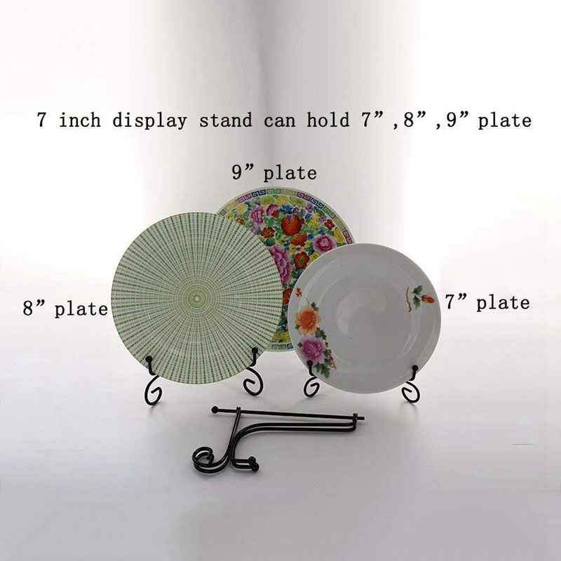 (4 pack)7 inch Iron Display Stand, Black Iron Easel Plate Display Photo Holder Stand, Displays Picture Frames, Cookbooks, Deco