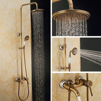 Bathroom Wall Mounted Classic Shower Set Faucet Brass Mixer Tap Dual Handles Ceramic And Carved Rainfall