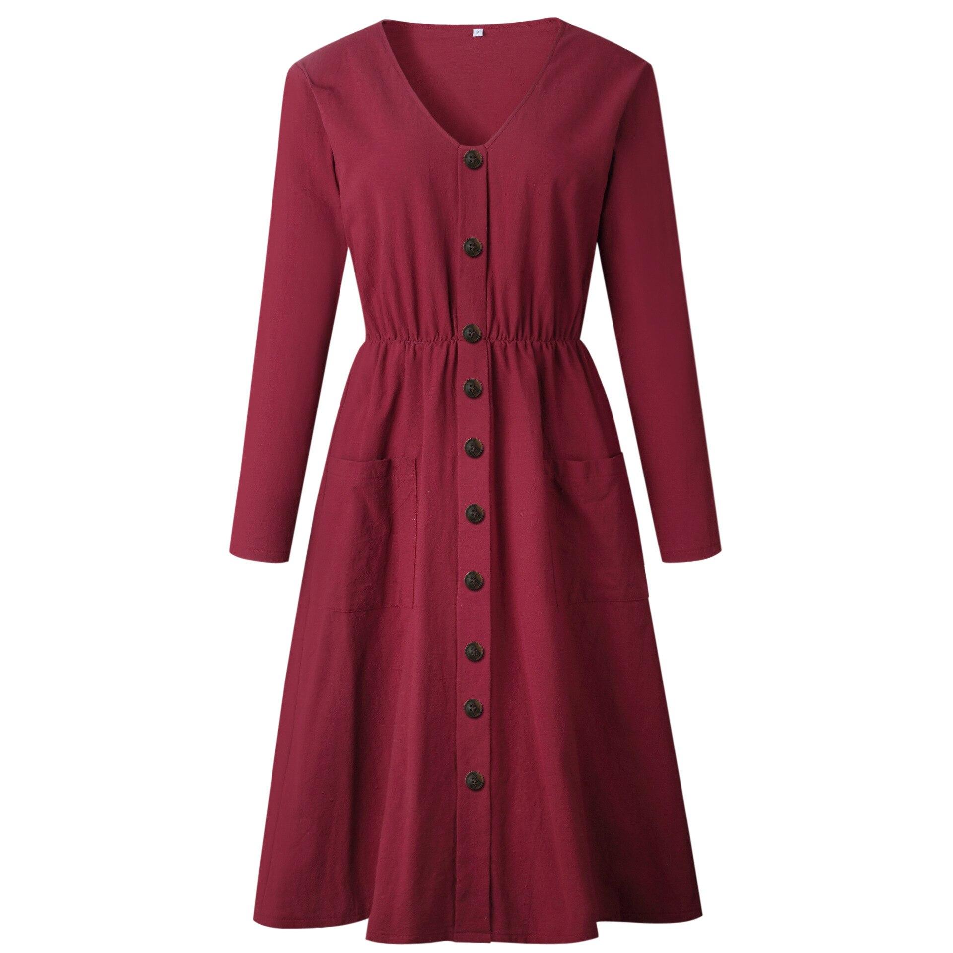 Red Blue A Line Casual Dresses Women Autumn Dress 19 Vintage Long Sleeve Dress For Ladies Buttons V Neck Midi Vestidos Female 26