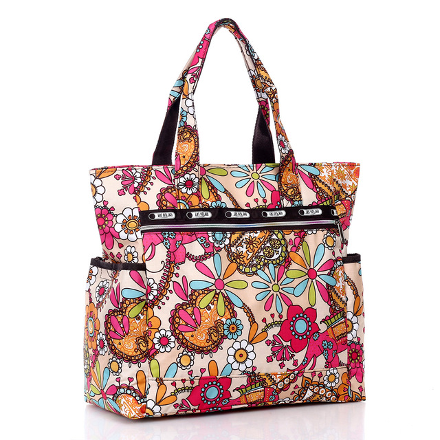 New Arrival Flower Printed Waterproof Nylon Plus Size Handbag Women Cloth Shoulder Bag Beach Soft