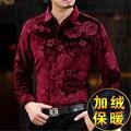 Цветочные узоры золото бархат высокого класса бизнес повседневная рубашка с длинным рукавом 2016 Осень и Зима мода slim мужчины качество рубашка М-XXXL