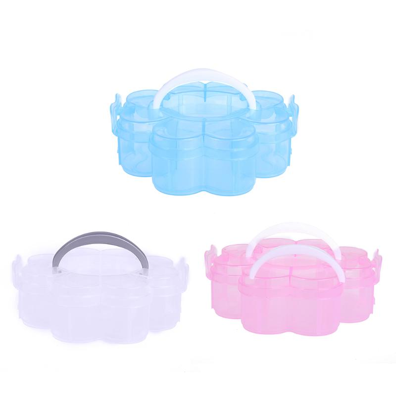 Good Portable Plum Flower Plastic Storage Box Colorful Fashion Jewelry Bead Case  Makeup Organizer Bathroom Accessories Holder