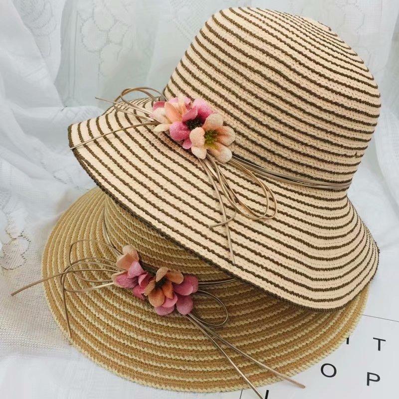 2019 Summer Fashion Straw Hat for Women Bow Flower Striped Beach Floppy Sun  Casual Adult Visors