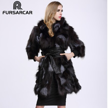 2017 Fashion Real Fur Coat Size S-8XL Material Silver Fox Fur Long Model Three Quarter Sleeve with Hood C86