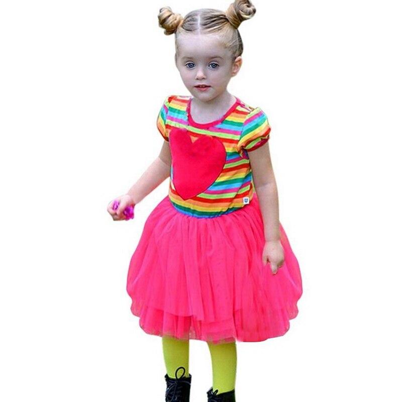 ba56f77ea Niños bebé moda colores rayas Tutu Vestidos del partido del niño de la  muchacha del vestido de ropa