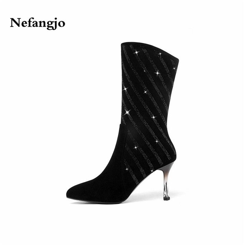 Oro Los Mujeres Cielo negro Beige Enchapado Botas Fino azul Tacón Nefangjo Alto 2018 azul Moda En Cuero Zapatos Nuevas De Señalaron Las Diamantes BxxHZI