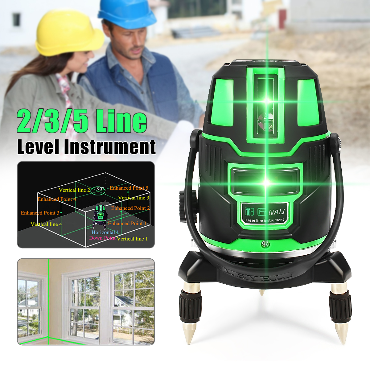 Green Laser Level 2/3/5 Cross Lines Self Leveling 360 Rotary Measure Tool Set US Plug Radius Indoor/Outdoor Alternating Direct