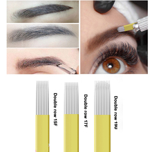 20pcs Microblading Needles Shading Double Row 15/17/19pins Disposable Micro Blades for Permanent Makeup Accesories Tattoo Supply