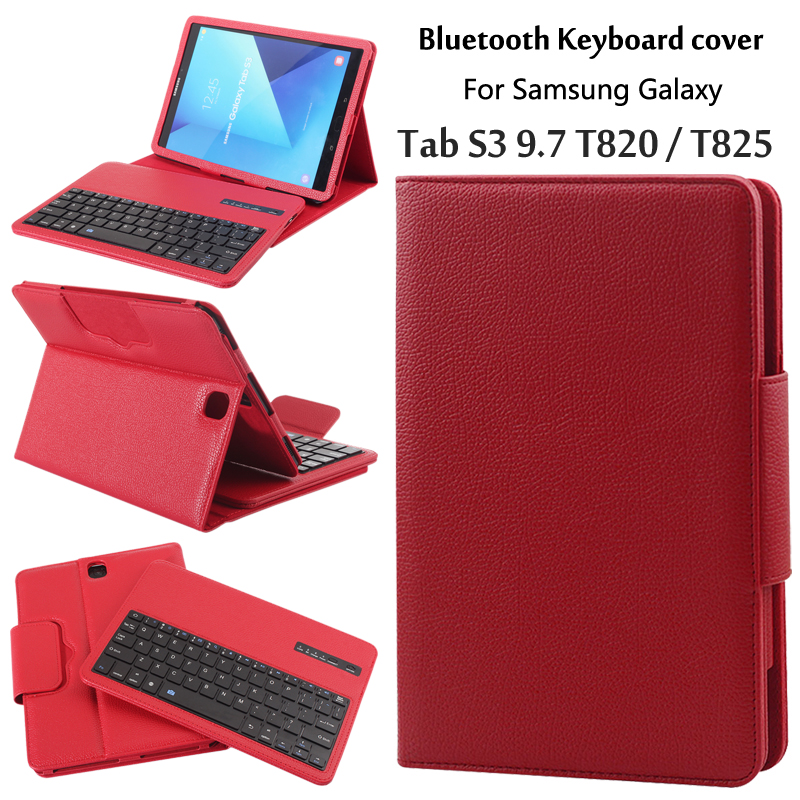 купить New 2017 For Samsung Galaxy Tab S3 9.7 T820 T825 T829 Magnetically Detachable ABS Bluetooth Keyboard PU Leather Case Cover +Gift по цене 1725.81 рублей