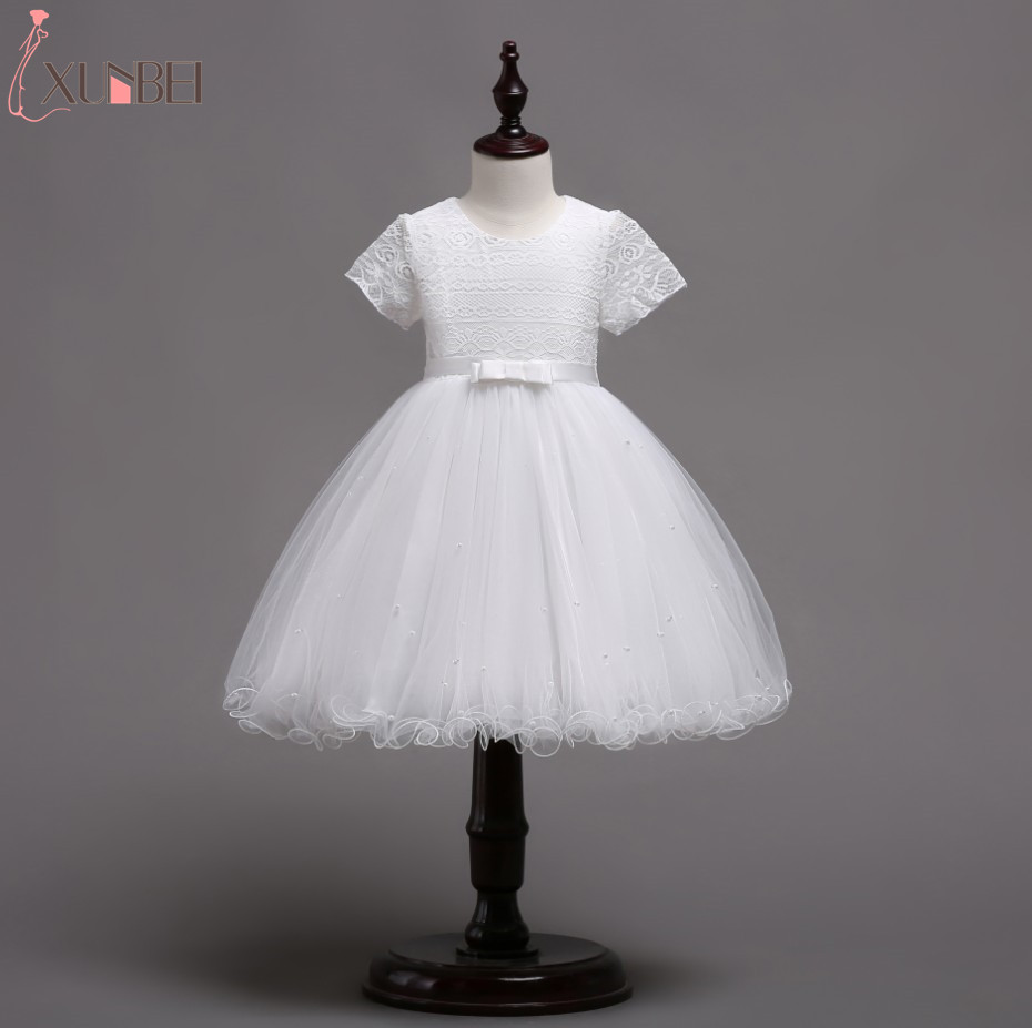 Lovely Short Sleeve Lace   Flower     Girl     Dresses   Knee Length 2019   Girls   Beading Pageant   Dresses   First Communion   Dresses   For   Girls