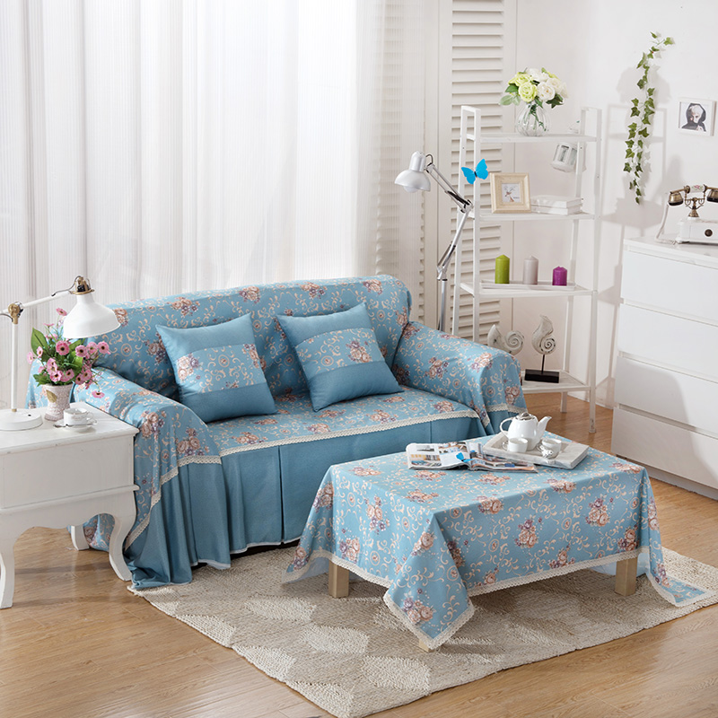 Korean Style Blue Flowers Printing Good Quality Sofa Cover Polyester One Two Three Four 1