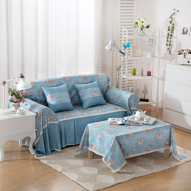 Korean Style Blue Flowers Printing Good Quality Sofa Cover Polyester One Two Three Four 1 2 3 4 Seat Simple Case