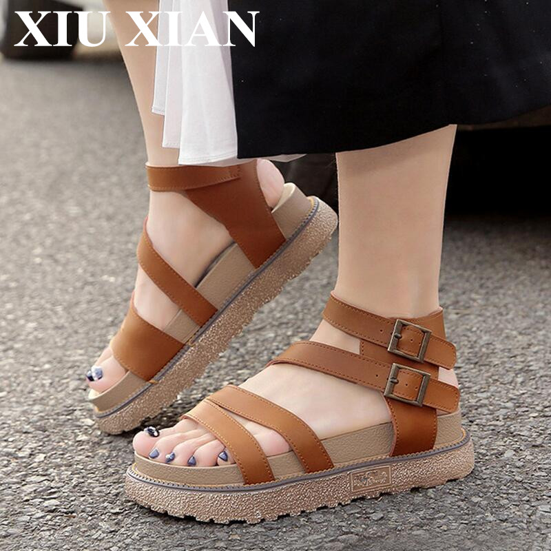 Big Size 34-43 2017 Fashion Shoes Women Summer British Ankle Strap Sandals Open Toe Women Platform Gladiator Sandals Flat Buckle women flat sandals fashion ladies pointed toe flats shoes womens high quality ankle strap shoes leisure shoes size 34 43 pa00290