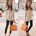 Newest Fashion Women Lace Shirt long Sleeve lace Sweaters Casual Crochet Tops  Loose  Shirt Sweater Tops pullover