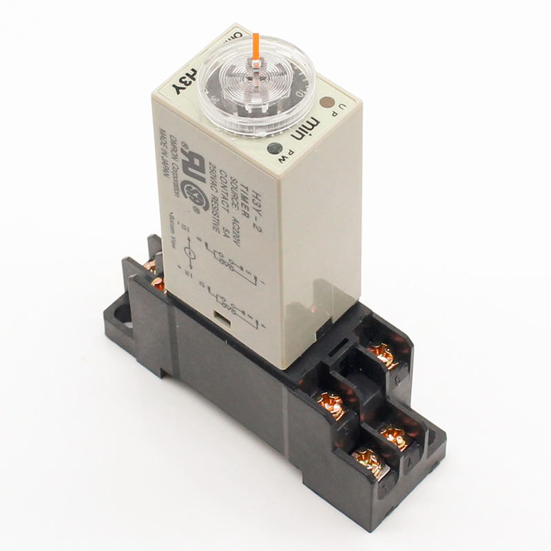 1pcs H3Y-2 AC 220V Delay Timer Time Relay 0 - 30 Minute/Seconds with Base Free Shipping h3y 4 ac 220v on delay 4pdt time relay with socket h3y series timer with base 30s 60s 30min 60min