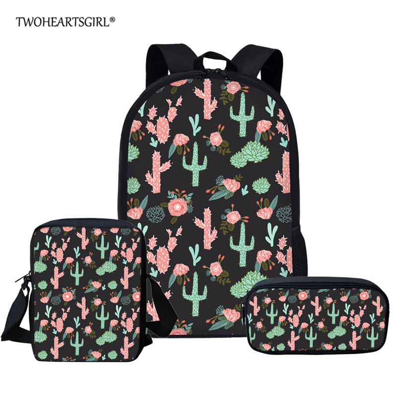 Twoheartsgirl 3pcs/set Women Backpack Cactus Printing School Bags For Teenager Girls Preppy Style Rucksack Cute Book Bag
