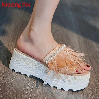 Krazing Pot silk ostrich feather peep toe natural leather platform slip pn mules high heels pearl beading movie star sandals l31