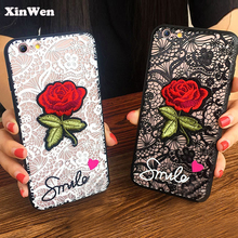 XinWen luxury cute Fashion Sexy 3D Rose Flower hard Phone cover coque case For apple iphone 5 s 5s se 5se Woman Lace Back cases rubberized matte hard back case for iphone se 5s 5 rose