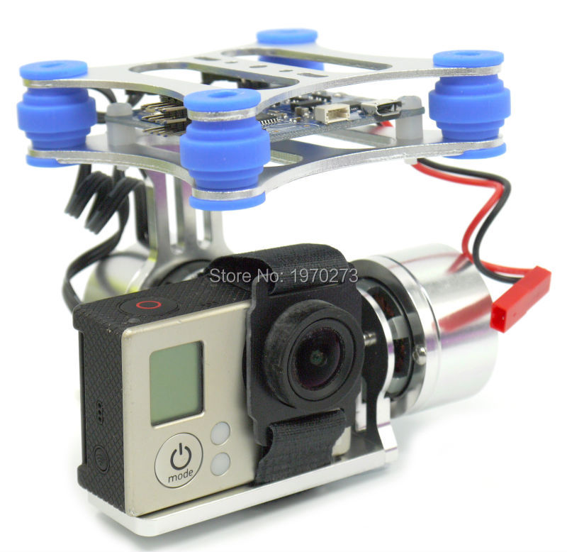 CNC 2 Axis Metal Brushless Gimbal FPV Quadcopter BGC w Controller for GoPro 3 Camera Walkera