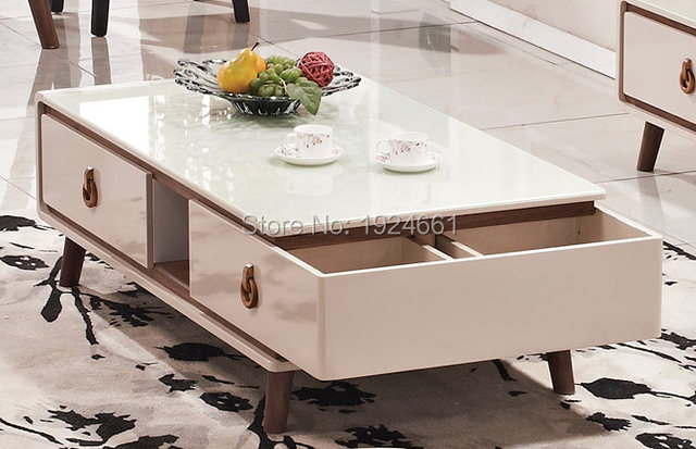Modern Coffee Table Cam Sehpalar Muebles Mesas Real Mirrored Furniture Led Bar Wooden With Desktop New Model Tea 869